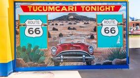 Route 66: Tucumcari ikväll väggmålning, NM Royaltyfria Bilder