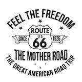 Route 66 -Typografie für T-Shirt Druck Stockbild
