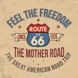 Route 66 -typografie voor t-shirtdruk Stock Foto