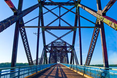 Route 66. U.S.A. Missouri, St Louis area, Route 66, the old Chain of Roks bridge on the Mississippi river stock photos