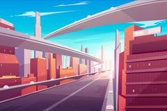 Route urbaine, route à deux voies de vitesse vide, pont illustration stock