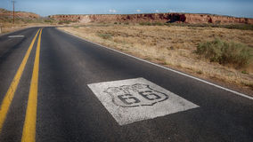 Route 66: US 66 Shields, Owl Rock, Laguna, NM. Two US 66 highway road shields leading to and from Owl Rock,  near Laguna, New Mexico Stock Images