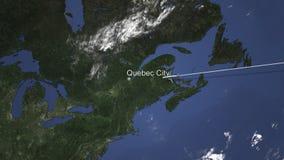 Route van een commercieel vliegtuig dat aan de Stad van Quebec, Canada op de kaart vliegt het 3d teruggeven stock illustratie