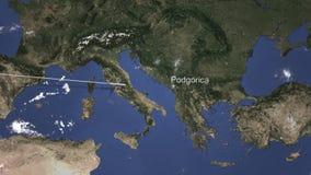 Route van een commercieel vliegtuig dat aan Podgorica, Montenegro op de kaart vliegt het 3d teruggeven stock illustratie