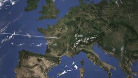 Route van een commercieel vliegtuig die aan Bern, Zwitserland op de kaart vliegen het 3d teruggeven royalty-vrije illustratie