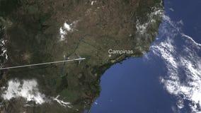 Route van een commercieel vliegtuig die aan Campinas, Brazilië op de kaart vliegen het 3d teruggeven royalty-vrije illustratie