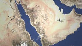 Route van een commercieel vliegtuig die aan Mekka, Saudi-Arabië op de kaart vliegen, 3D animatie vector illustratie
