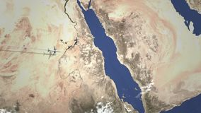Route van een commercieel vliegtuig die aan Mekka, Saudi-Arabië op de kaart vliegen Intro 3D animatie stock illustratie