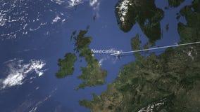 Route van een commercieel vliegtuig die aan Newcastle, het Verenigd Koninkrijk op de kaart vliegen het 3d teruggeven stock illustratie