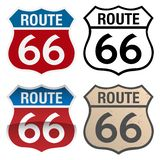 Route 66 vector signs illustration, in full color, black and white and antique versions. Route 66 Vector Signs including red white and blue, with and without stock illustration