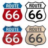 Route 66 -Vektorzeichenillustration, in den farbenreichen, Schwarzweiss-- und antiken Versionen stock abbildung