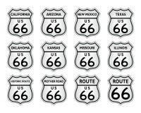 Route 66 -verkeersteken de Historische V.S. Amerika vectoreps Stock Afbeeldingen