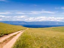 Route vers le lac Image libre de droits