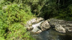 Route of the waterfall with 14 waterfalls in corupa one of the last areas of the Atlantic forest in Brazil. stock photo