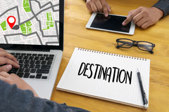 Route Way Route  City Map Destination Route NAVIGATION  gps  ,. Using  system , female hands holding a smart  , The navigation software is on your phone Stock Images