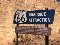 Route 66 Winslow Arizona. Historic signs, Winslow, Route 66, Route 40 west Arizona Royalty Free Stock Photography