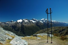 Routeburn Track, New Zealand. With walking sticks Stock Photography