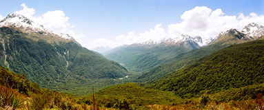 Routeburn track panorama, New Zealand Stock Image