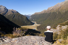 Routeburn Track - Tramper overlooking Routeburn Fl Royalty Free Stock Photo
