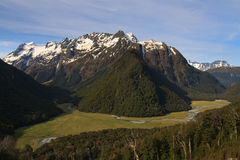 Routeburn Track Valley. View of the Routeburn Flats from Great Walk Track in the Mt Aspiring National Park and Fiordland, New Zealand Stock Photo