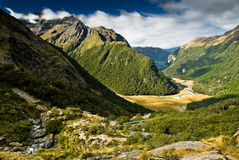 Routeburn valley. Scenic view over routeburn valley, south island, new zealand Royalty Free Stock Image