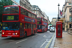 Routemaster buses in London. The AEC Routemaster is a model of double-decker bus that was built by Associated Equipment Company (AEC) in 1954 (in production from Royalty Free Stock Photography