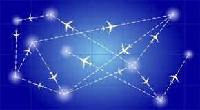 Routennetzflugzeuge Stockfotografie