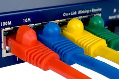 Router And Cables. Macro. Stock Photos
