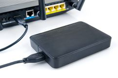 Router with backup storage disk. Data in your own cloud Royalty Free Stock Photography
