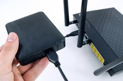 Router with backup storage disk Stock Images