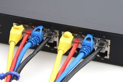 Router and Cables Stock Photo