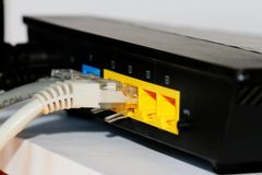 Router and cables Royalty Free Stock Photos