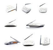 Router collage. White router for wi-fi on a light background collage Stock Image