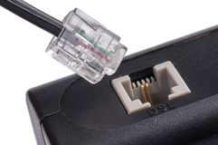 Router connecting to the Internet on white. Close up Stock Photo