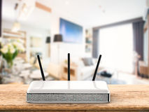 Router. 3d rendering wireless router on wooden table Royalty Free Stock Images