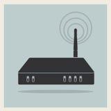 Router del Wi-Fi en vector retro del fondo ilustración del vector