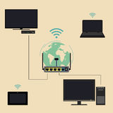 Router and devices. Using a router for domestic purposes. Connection to devices through a router and Wi Fi. Vector icon in flat style vector illustration