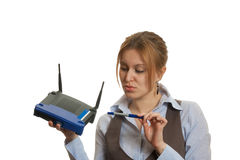 Router girl Stock Images