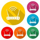 Router icon, color icon with long shadow. Simple vector icons set Stock Illustration