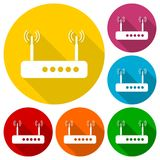 Router icon with long shadow. Vector icon Stock Photography