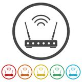 Router icon, Modem router, 6 Colors Included. Simple vector icons set Royalty Free Stock Photo