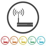 Router icon, Modem router, 6 Colors Included. Simple vector icons set Royalty Free Illustration