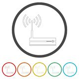 Router icon, Modem router, 6 Colors Included. Simple vector icons set Stock Illustration