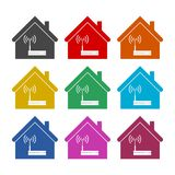 Router icon, Modem router in house, color icons set. Simple vector icon Vector Illustration