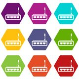 Router icon set color hexahedron. Router icon set many color hexahedron isolated on white vector illustration Stock Images