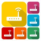 Router icon vector, router icons set with long shadow. Vector icon Royalty Free Illustration