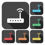 Router icon vector, router icons set with long shadow. Vector icon Vector Illustration