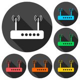Router icons set with long shadow Royalty Free Stock Photo