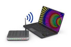 Router and  laptop Royalty Free Stock Photo