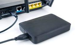 Router med skivan för reserv- lagring Royaltyfri Fotografi